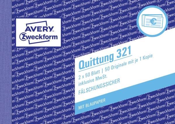 321 Quittung inkl MwSt A6 quer, MP, BL, fälschungssicher, 2 x 50 Blatt, weiß