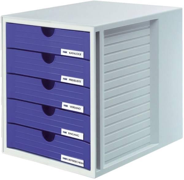 Schubladenbox SYSTEMBOX A4 C4, 5 geschlossene Schubladen, lichtgrau blau