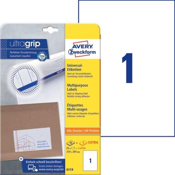 6119 Universal Etiketten 210 x 297 mm, weiß, 30 Etiketten 30 Blatt, permanent