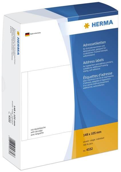 HERMA Adressetiketten-Einzeln 148x105mm ws 4332 500 Stück permanent haftend
