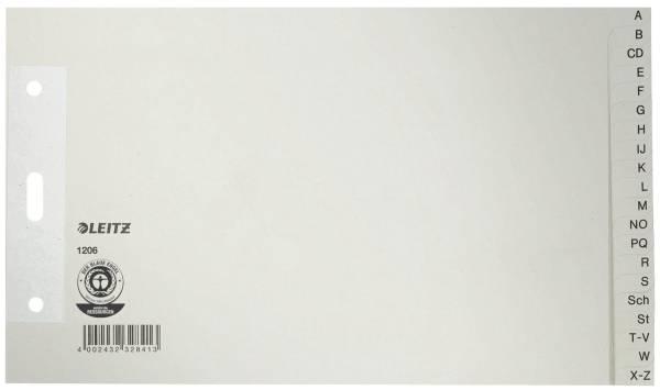 1206 Papierregister A Z A5 quer, Überbreit, 100 g qm, 20 Blatt, grau