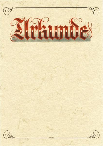 "Urkunde Aufschrift ""Urkunde"" (Elefantenhautpapier), 190g qm, weiß, DIN A3"