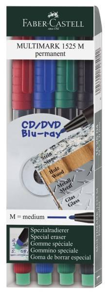 CD Marker MULTIMARK, wasserfest, Strichstärke: ca 1 mm, 4 Farben, Etui