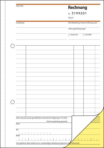 Rechnung für Kleinunternehmer ohne MwSt Ausweis A5, SD, 2 x 30 Blatt