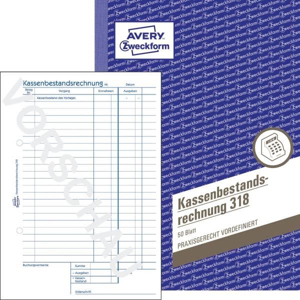 AVERY ZWECKFORM Kassenbuch A5 50BL 318