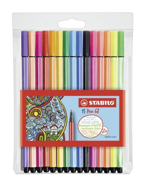 STABILO Fasermaler Pen 68 Etui 15 Stück 6815-2 10 + 5 Stück neon