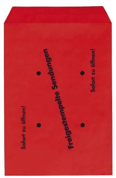 Freistempler Taschen B4 , 100 g qm, rot , 250 Stück