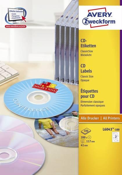 L6043 100 CD Etiketten, Ø 117 mm, 100 Blatt 200 Etiketten, weiß