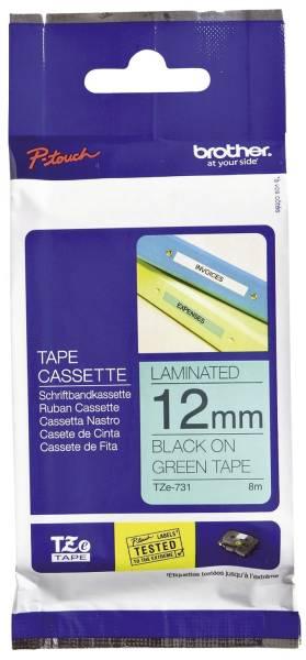 TZe 731 Schriftbandkassette laminiert, 12 mm x 8 m, schwarz auf grün