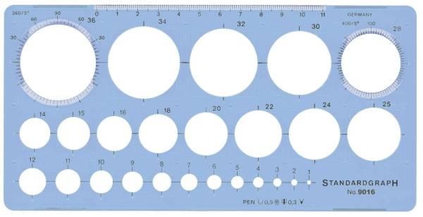 STANDARDGRAPH Kreisschablone mit 25 Kreisen blau 9016