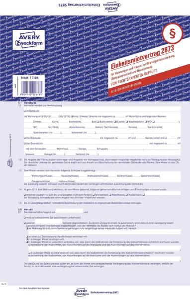 2873 Einheitsmietvertrag Wohnungen und Häuser, DIN A4, mit Übergabeprotokoll, gelb