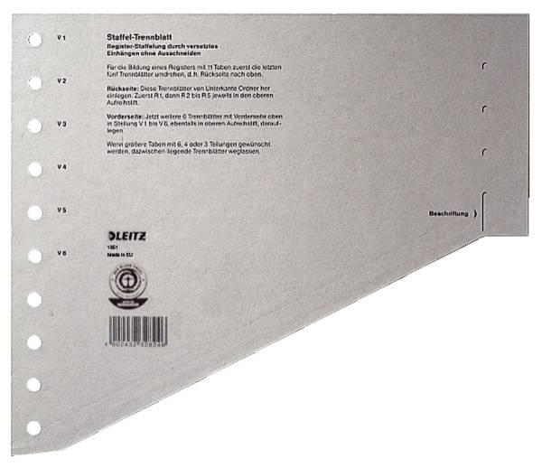 1651 Staffel Trennblätter A4 Überbreite, grau, 100 Stück