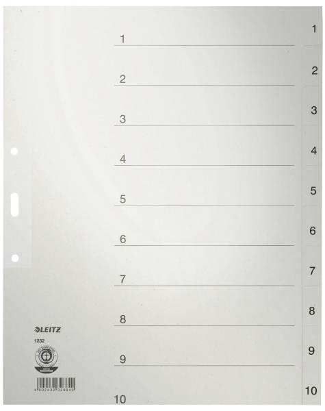 1232 Zahlenregister 1 10, Papier, A4 Überbreite, 10 Blatt, grau