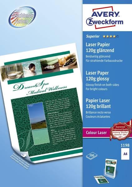 1198 Superior Colour Laser Papier, DIN A4, beidseitig beschichtet glänzend, 120 g qm, 200 Blatt