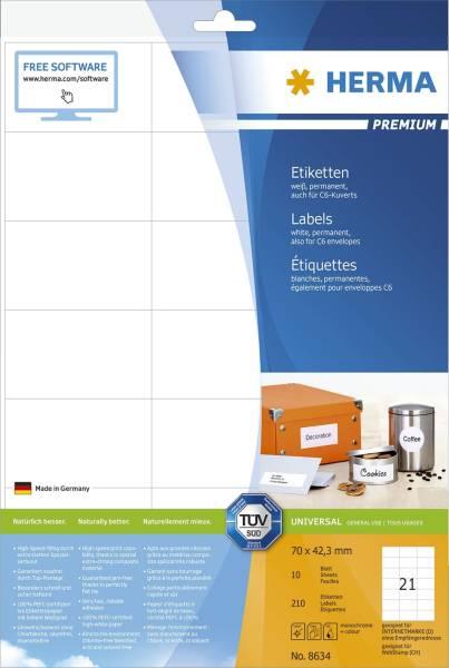HERMA Etiketten Premium 70x42,3mm weiß 8634 210 St. permanent haftend