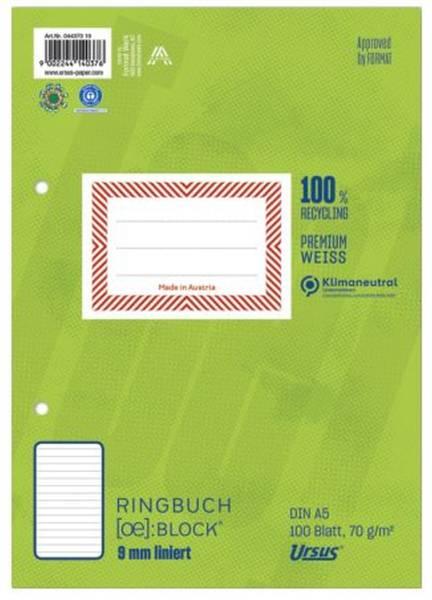 Ringbuchblock A5 100 Blatt 70g qm 9mm liniert