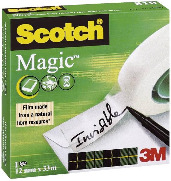 Klebeband Magic 810, Zellulose Acetat, unsichtbar, beschriftbar, 33 m x 12 mm