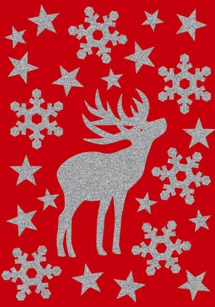 HERMA Schmucketikett Hirsch glittery 24 Stück 3727 Magic Weihnachten