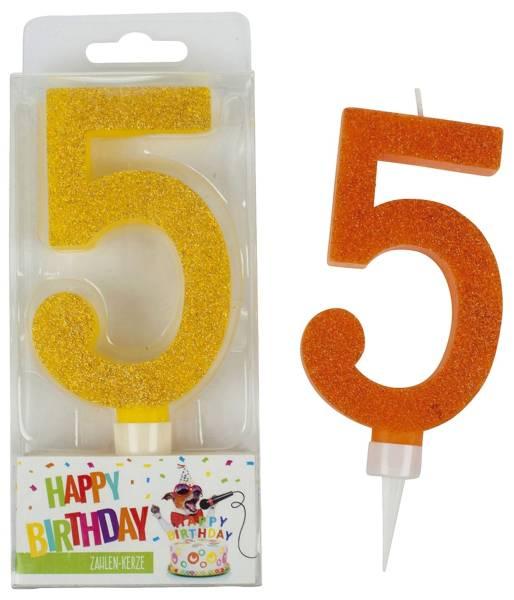 TRENDHAUS Geburtstagskerze Zahl 5 sort. 942036 Maxi Glitter