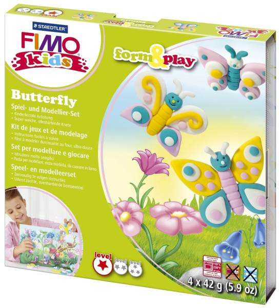 "Modelliermasse FIMO Kids Materialpackung Form & Play ""Butterfly"", 4 x 42 g®"