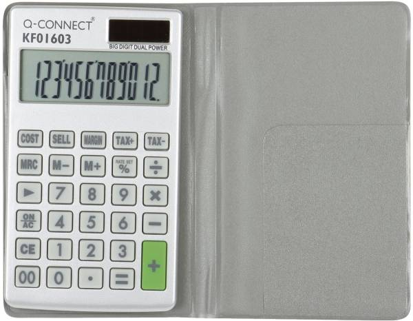 Q-CONNECT Taschenrechner 12-stellig Solar KF01603 70x15x120 mm BxHxT