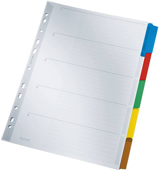 4320 Register blanko, Karton, A4, 5 Blatt, Taben 5 farbig