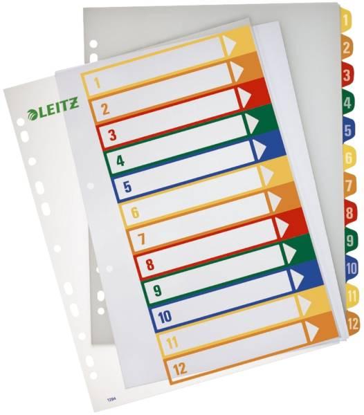 1294 Zahlenregister PP, blanko, bedruckbar, A4 Überbreite, 12 Blatt, farbig