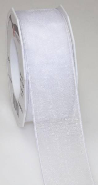 Organzaband DK 40 mm x 25 m, weiß