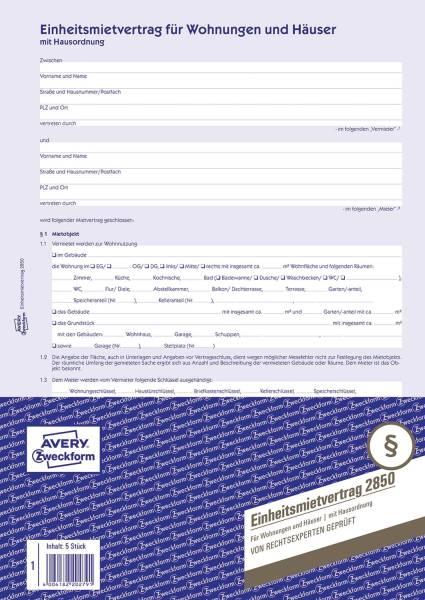 2850 Einheitsmietvertrag Wohnungen und Häuser, DIN A4, mit Hausordnung, 1 Satz 5 Stück, blau