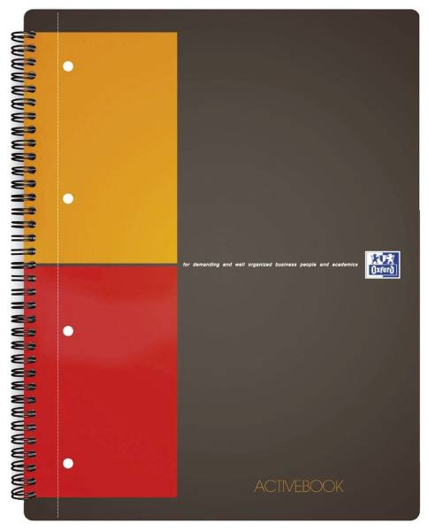 International Activebook A4+, 5 mm kariert, 80 Blatt, Register und Dokumententasche, grau