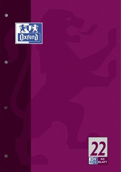 Schulblock Lin 22 A4, 50 Blatt, 90 g qm, 4 fach Lochung