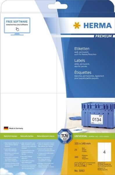 5063 Etiketten Premium A4, weiß 105x148 mm Papier matt 100 St