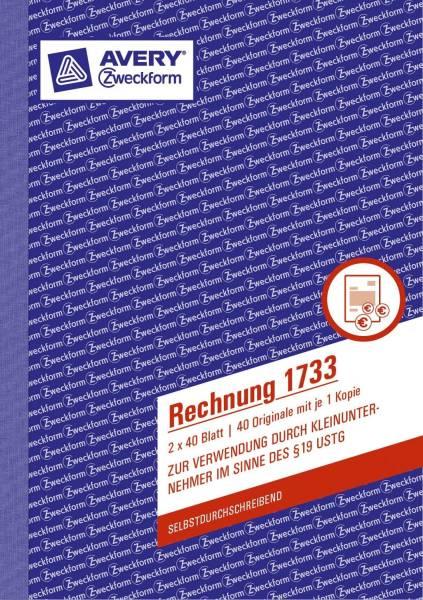 1733 Rechnung Kleinunternehmer, selbstdurchschreibend, DIN A5, 2x40 Blatt