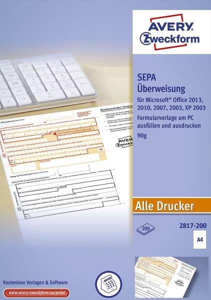 2817 200 Sepa Überweisung A4, ohne Software, 200 Blatt