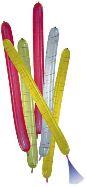 Luftballon Rakete mit Mundstück länglich, sortiert, 6 Stück