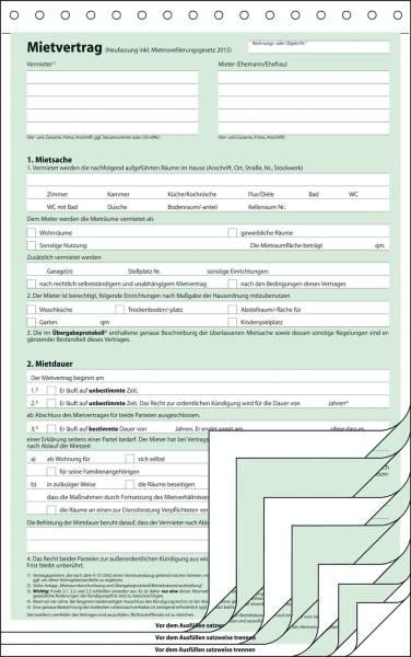 Mietvertrag A4, 4 x 2 Blatt