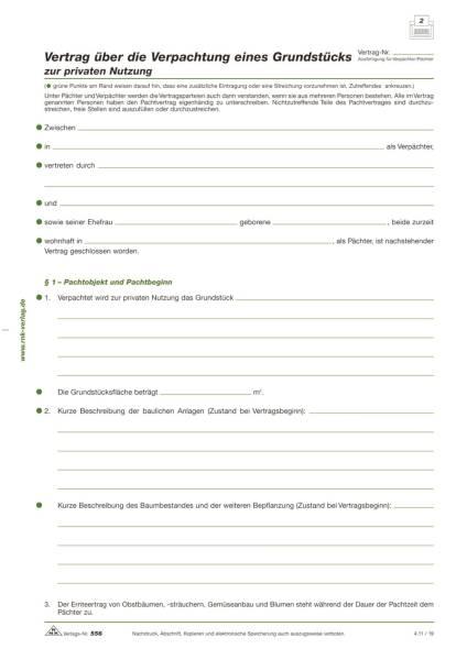 RNK Pachtvertrag Grundstück A4 556 Privat 4Seiten