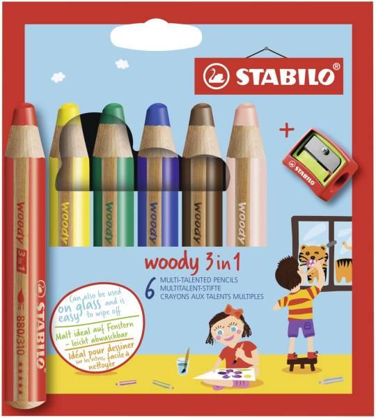 STABILO Farbstifte Woody 6ST 8806-2 +Spitzer
