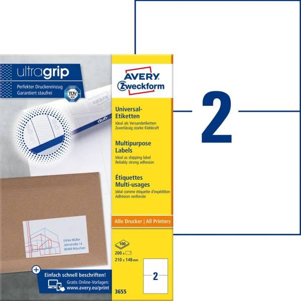 3655 Universal Etiketten (A4, Papier matt, 200 Etiketten, 210 x 148 mm) 100 Blatt weiß