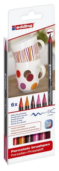4200 Porzellan Pinselstift 1 4 mm, warm colour Set, 6 Farben sortiert