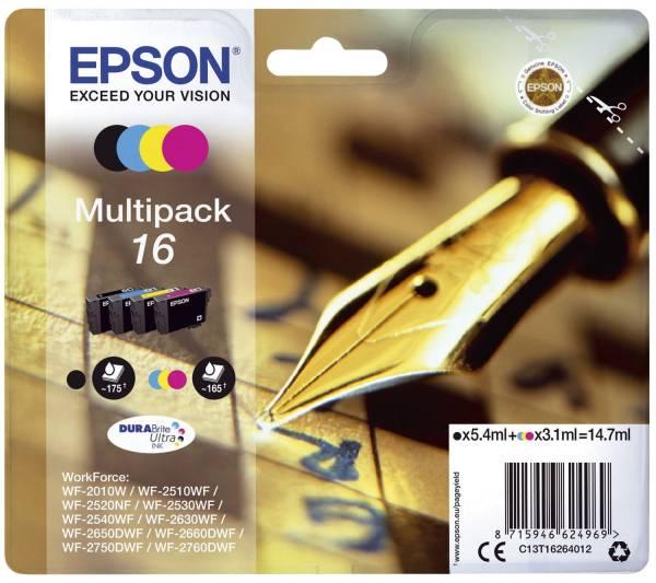 EPSON Inkjetpatrone Nr. 16 sw,c,m,y C13T16264012 Multipack
