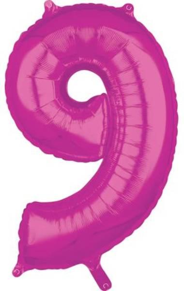 Folienballon Zahl 9 rosa