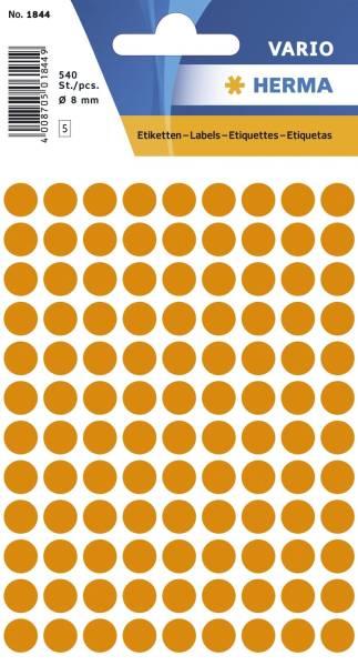 1844 Vielzwecketiketten orange, Ø 8 mm, matt, 540 Stück