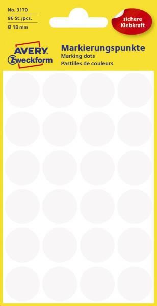 3170 Markierungspunkte Ø 18 mm, 4 Blatt 96 Etiketten, weiß