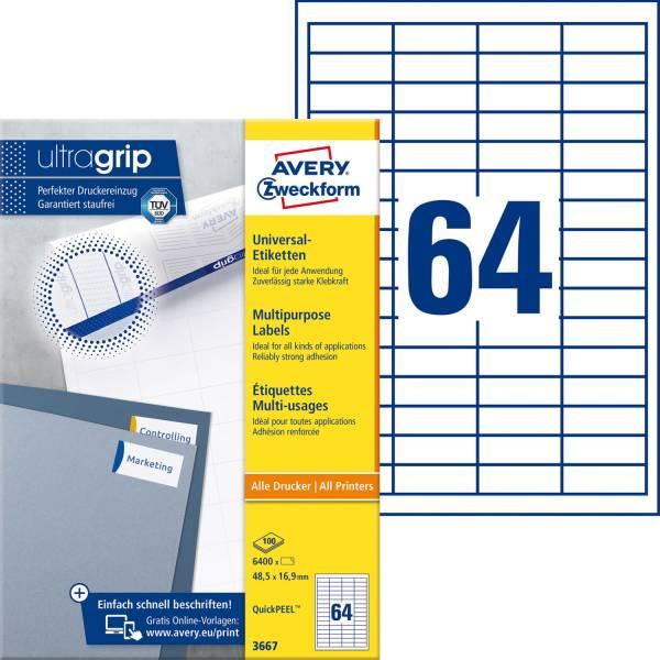 3667 Universal Etiketten (A4, Papier matt, 6 400 Etiketten, 48,5 x 16,9 mm) 100 Blatt weiß