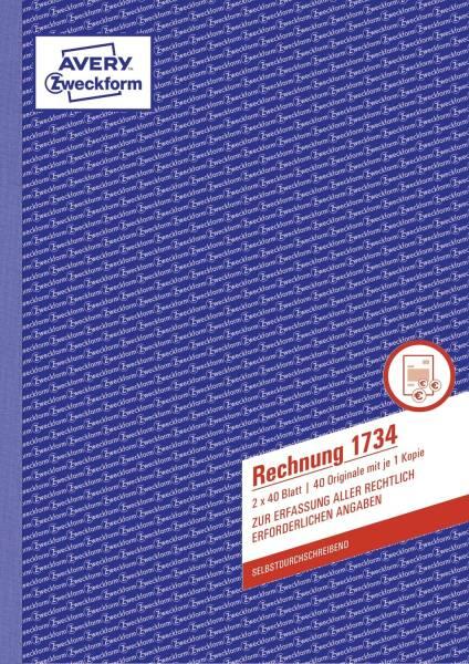 1734 Rechnung, DIN A4, selbstdurchschreibend, 2 x 40 Blatt, weiß gelb