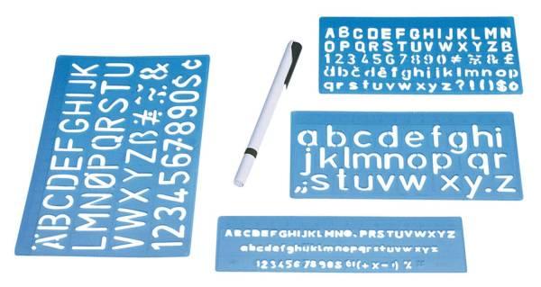 Schriftschablonen 3er Set inkl passendem Schreibgerät