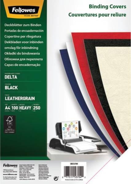 Deckblätter Lederstruktur, A4, schwarz, 100 Stück