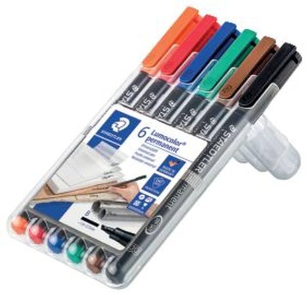 Feinschreiber Universalstift Lumocolor permanent, B, Box mit 6 Farben®