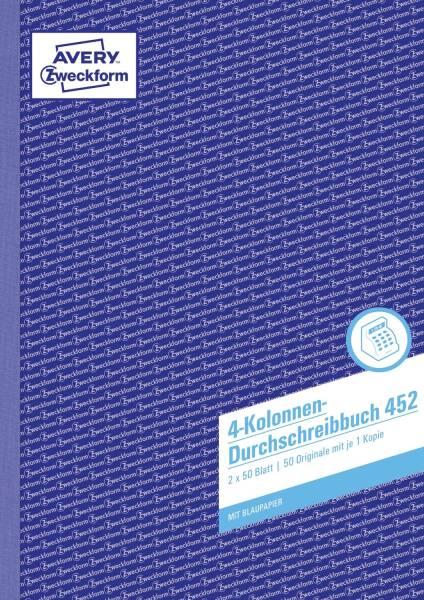452 Kolonnen Durchschreibbuch, DIN A4, 4 Kolonnen, 2 x 50 Blatt, weiß